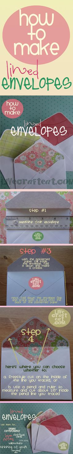 How To Make Lined Envelopes.the easy way. Now you can have a lovely matching envelope for all your wonderful homemade cards! How To Make An Envelope, Diy Envelope, Envelope Punch Board, Envelope Liners, Envelope Maker, Card Making Tips, Card Making Techniques, Making Ideas, Karten Diy
