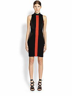 Go, orange and leather! | Jason Wu Sleeveless Leather Panel Dress