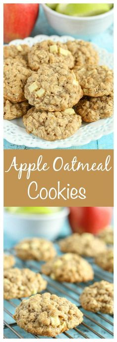 Apple Recipes You Need to Try! These thick, soft, and chewy apple oatmeal cookies are guaranteed to be your new favorite cookie for fall!These thick, soft, and chewy apple oatmeal cookies are guaranteed to be your new favorite cookie for fall! Apple Dessert Recipes, Oatmeal Cookie Recipes, Delicious Desserts, Oatmeal Cookies, Yummy Food, Cooking Apple Recipes, Apple Recipes For Kids, Apple Oatmeal Muffins, Oatmeal Dessert
