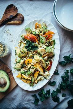 Cauliflower Salad with Nectarines, Avocado and Pistachio Dukkah