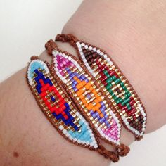 Embroidery Bracelets Patterns Seed Bead Evil Eye Macrame Bracelet Ready to Ship - Bead Loom Bracelets, Macrame Bracelets, Bead Loom Patterns, Bracelet Patterns, Embroidery Floss Bracelets, Bracelets With Meaning, Loom Beading, Leather Jewelry, Bead Weaving