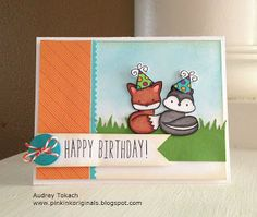 Lawn Fawn - Into the Woods stamps and papers, So Much to Say, Hats Off to You _ sweet birthday card by Audrey at Pink Ink Originals: Kelly Marie's SURPRISE Birthday Party Hop!