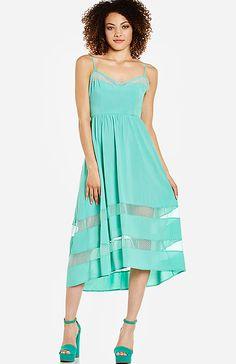 Mesh Insert Midi Dress   DAILYLOOK