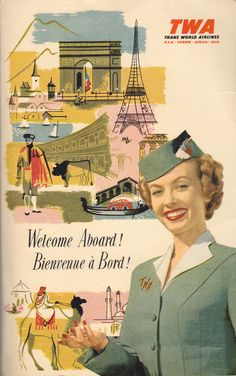 Trans World Airlines information packet cover, circa 1958.