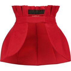 Natasha Zinko Cotton-blend faille peplum waist belt (715,470 KRW) ❤ liked on Polyvore featuring accessories, belts, red, red waist belt, waist belt, peplum belt, red belt and snap belt