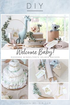 DIY: make modern diaper cake yourself! - DIY - Do it yourself - DIY: make modern diaper cake yourself! Baby Shower Fun, Shower Party, Baby Shower Parties, Baby Showers Juegos, Diy Diaper Cake, Diy Bebe, Baby Party, Shower Favors, Shower Gifts