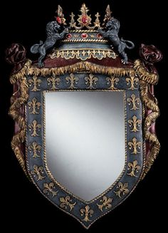 Truly one of the most majestic mirrors, this ornate work of decorative art is topped by a pair of winged lions flanking a regal crown set with faux gems. Love Frames, Picture Frames, Wall Mounted Mirror, Wall Mirror, Antique Frames, Antique Mirrors, French Decor, French Chic, Crushed Stone