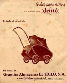 Página publicidad Original *Coche para niño Jané y Almacenes El Siglo de Barcelona* del año 1945