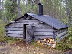 """Irtonaisauhti"" An old tiny cabin, that was, before, without chimney, so it was closer to more traditional ""smoke hut"",with smoke-gap between roof halves. Basically, it was like two lean-to´s, facing eachother, with closed ends and a small door. Sort of link between log houses and older lean- to´s. When peoplestarted to build stoves from stones, they made also chimney pipes, making the roofgap useless. http://www.patikka.net/Tupaluettelot/koilliskaira/tuvat/Irtonaisauhti-163.htm"