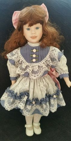 "Heritage House Petals & Lace Porcelain Musical Doll 18"" Blue Eyes Auburn Hair #HeritageHouse"