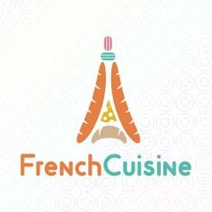 Eiffel tower logo designed to represent some representative French goods. The logo is made different products like two french breads, a piece of cheese, a croissant and two colorful macaroons at the top.