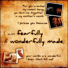 ~ For you created my inmost being;  you knit me together in my mother's womb. ~ I praise you because I am fearfully and wonderfully made; your works are wonderful, I know that full well.~  —Psalm 139:13-14 NIV ~