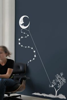 """Moon Kite"" - I absolutely LOVE this. I so want to do this in my house. I'll have to find a place, and to paint the wall that lovely blue color that makes it pop so well."
