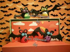 Thought these bats turned out cute. Handmade by me (Kim's Whimsical Clay: https://www.facebook.com/pages/Kims-Whimsical-Clay/178553212339635