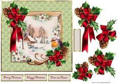 The water mill and holly is a 7x7 card with decoupage and sentiment tags, happy Christmas, merry Christmas, From our house and a blank for your own message