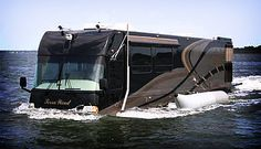 The Terra Wind amphibious Motor Coach/Yacht in water, driven by two 19 inch propellers. Moto Home, Cool Rvs, Kombi Motorhome, Motorhome Travels, Luxury Motorhomes, Luxury Rv, Luxury Camping, Amphibious Vehicle, Vw T