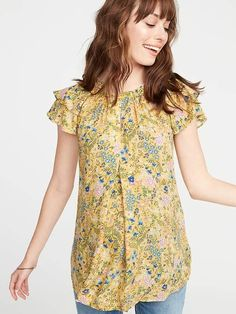 6d7f49faff248 Old Navy Maternity Floral-Print Ruffle-Sleeve Blouse Ruffle Sleeve, Flutter  Sleeve,