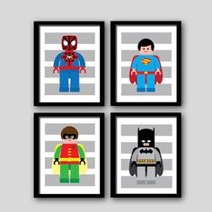 superhero nursery prints, superhero bedroom prints, superhero wall decor, set of shipped to your door, Super hero wall art PRINTS Superhero Room, Superhero Clipart, Lego Bedroom, Kids Bedroom, Boys Room Decor, Boy Room, Deco Lego, Big Boy Bedrooms, Kid Spaces