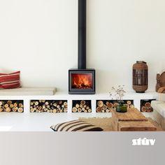 Living Room Decor Fireplace, Modern Fireplace, Fireplace Design, Home Living Room, Living Spaces, Style At Home, Freestanding Fireplace, Living Room Pictures, Modern Lounge