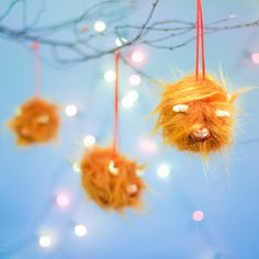Christmas Coos! -  Highland Cow Christmas Tree Ornaments or Baubles on Etsy, $30.31