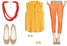 Rock a warm and sunny vibe in this getup, perfect if you live in a warm climate or will be vacationing in one soon! Wear a golden yellow chiffon blouse over a pair of cropped orange pants. Contrast the vibrant shades with a pair of neutral tone flats, then accessorize with dainty bow studs and a chunky beaded necklace to finish the outfit.