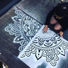 """Receive wonderful recommendations on """"shabby chic furniture painting"""". They are actually on call for you on our internet site. Mandala Mural, Mandala Stencils, Shabby Chic Furniture, Painted Furniture, Diy Furniture, Decorating Your Home, Diy Home Decor, Stenciled Floor, Floor Stencil"""