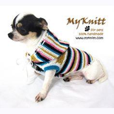 unique striped dog hood sweater by myknitt. Custom made are welcome. #myknitt…