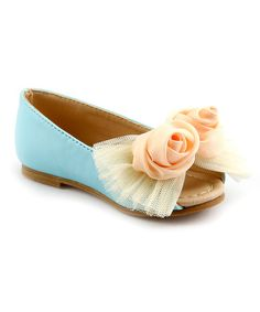 Look at this The Doll Maker Sky Blue Lace Rosette Peep-Toe Flat on #zulily today!