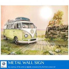 VW WATERCOLOUR CAMPER GREEN FIELDS METAL SIGN
