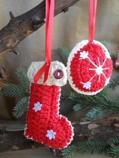 Crocheted christmas ornaments SET OF 3. $8.90, via Etsy.
