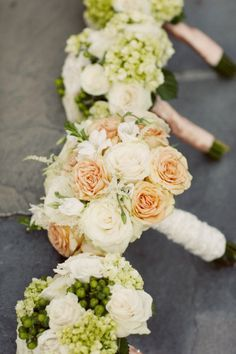 Peaches and cream: only the bridal bouquet has extra color. From: Style Me Pretty
