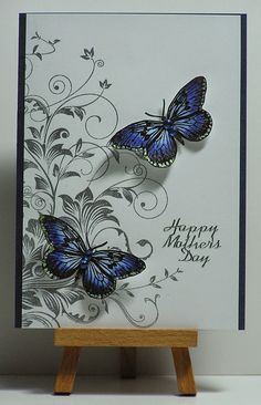 Lovely card with a flourish background and some butterflies