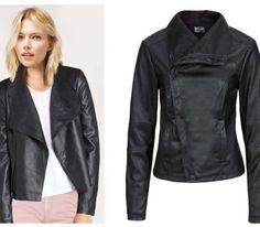Damen-Kunstlederjacke-Bikerjacke-Jacke-schwarz-Neu-Gr-38
