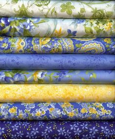 Summer Breeze II by Sentimental Studio for Moda~Fat Quarter 8 FQ Blue and Yellow | eBay