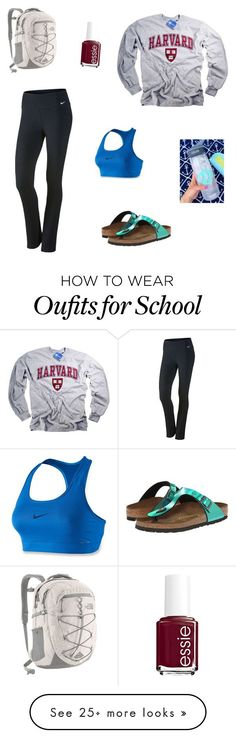 """School today"" by geekydancer on Polyvore featuring Birkenstock, NIKE, Essie, The North Face and CamelBak"