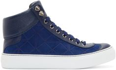 Jimmy Choo: Navy Suede Origami High-Tops | SSENSE