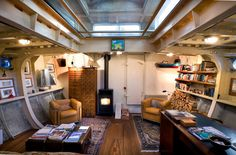 lighthouse vessel for sale Barge Interior, Boat Interior, Camper Interior, Interior Design, Houseboat Amsterdam, Water House, Boat House, Tiny House, Hipster Apartment