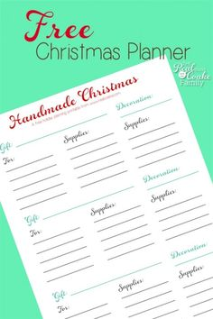Love this free printable Christmas planner! It is perfect for planning my homemade Christmas gifts and decorations. Makes it easy to get what I need and be organized this year!