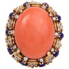 1960s Retro Coral Lapis Lazuli Diamond Gold Dome Ring