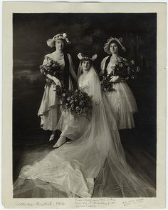 Bride and bridesmaids, 1916. // are those bunny ears or horns?