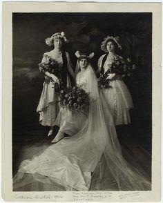 Bride and bridesmaids, 1916.