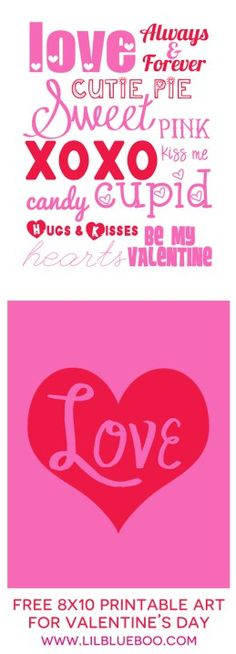 20 Free Valentine Printable Signs via Mandy's Party Printables from Lil Blue Boo