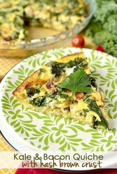 Kale & Bacon Quiche with Hash Brown Crust is perfect light breakfast, lunch, or dinner! | iowagirleats.com