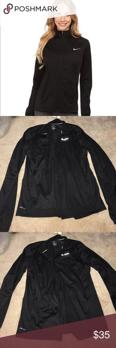 NIKE DRIFIT Black Sport Running Jacket Size M NIKE DRIFIT Black Sport Running Jacket Size M. Excellent condition. Smoke free home. Only worn a few times. Thin and light (yet warm) material. Nike Jackets & Coats