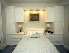 Custom White BuiltIn Wall Unit With Bed Bedroom wall units, Bedroom built ins, Bedroom hacks Wardrobe Closet with Built In Bedroom Cabinet. Small Master Bedroom, Bedroom Closet Design, Tiny Bedroom, Bedroom Built Ins, Bedroom Wall, Bedroom Wall Units, Bedroom Hacks, Build A Closet, Remodel Bedroom