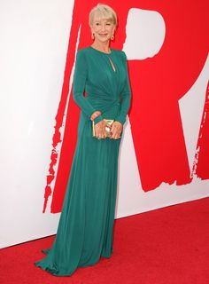 Helen Mirren Is A Class Act | A teal, long-sleeve jersey gown and gold clutch , both by Elie Saab