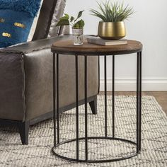 Burnham Reclaimed Wood and Iron Round Side Table by Kosas Home (Reclaimed Pine wood and Iron), Black Metal End Tables, Round Side Table, End Tables With Storage, Side Tables, Modern End Tables, Living Room Modern, My Living Room, Living Room Furniture, Living Room Decor