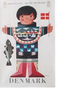 Greenland, Arctic Denmark vintage travel poster by Ib Antoni, ca. Vintage Travel Posters, Vintage Ads, Danish Culture, Illustrator, Retro Poster, Poster Vintage, Thinking Day, Danish Design, Illustrations Posters