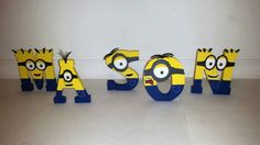 Wooden Minion Letters, Minion Name Personalized, Minion Birthday,Minion number, Minion Party, Minion Room, Minion Decor, Minion Decorations by VannessasCreations on Etsy