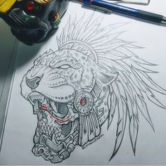 Jaguar Warrior from Anahuac by For rates and commissions send a DM . Biker Tattoos, Skull Tattoos, Body Art Tattoos, Tattoo Drawings, Symbol Tattoos, Tattoo Sketches, Tattoo Ink, Arm Tattoo, Hand Tattoos